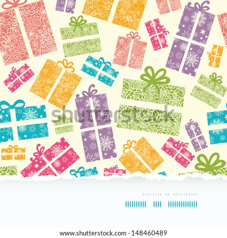 Colorful Textured Gift Boxes Horizontal Torn Seamless Pattern Background - stock vector