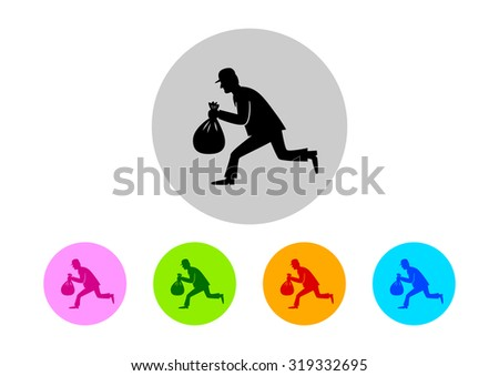 Colorful thief icons on white background      - stock vector