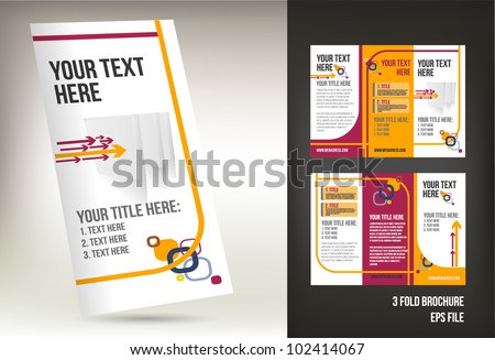 Colorful Three Fold Brochure Template Stock Vector - Fold brochure template