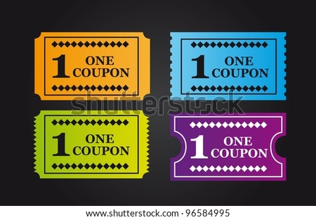 colorful tickets over black background. vector illustration - stock vector