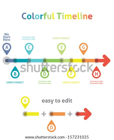 Colorful Timeline. Infographic template. Easy to Edit - stock vector