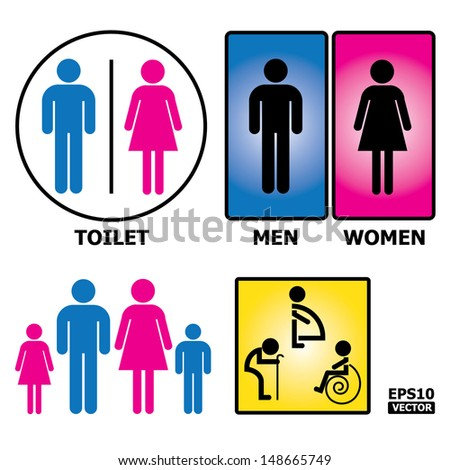 Colorful Toilet Sign with Toilet, Men, Women text, pregnent women, aged and handicapped.-eps10 vector - stock vector