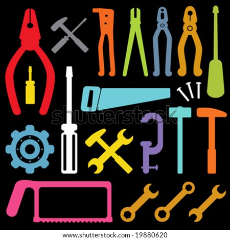 colorful tool icons vector - stock vector