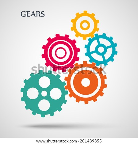 colorful toothed gears (cogs) is meshed on gray background. vector illustration eps10 - stock vector