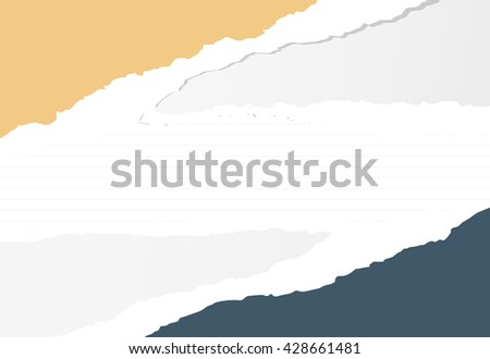 Colorful torn paper pieces are stuck on lined notebook sheet - stock vector
