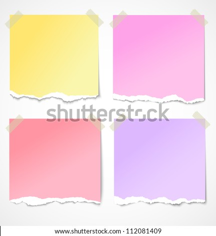 Colorful torn paper stickers, notes and reminders with tape. Vector illustration - stock vector