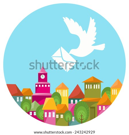 Colorful town and white dove with message. Round illustration with landscape of cozy city and pigeon with letter flying above at blue sky. Vector file is EPS8. - stock vector