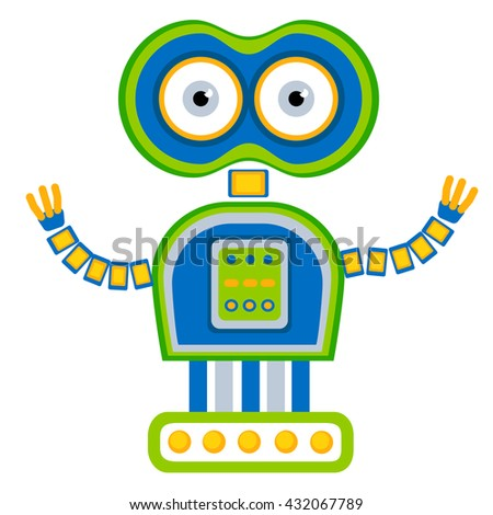 Colorful Toy robot. Vector character. Cartoon colorful illustration