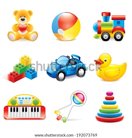 Colorful toys icons detailed photo-realistic vector set