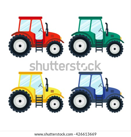 Colorful tractors on white background. Tractors in flat style. Agricultural tractor. Agricultural vehicle and farm machine. Tractor illustration-business concept. Agriculture machinery. - stock vector