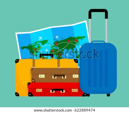Colorful travel bags folded world map stock vector 622889474 colorful travel bags and folded world map vector illustration flat design gumiabroncs Images