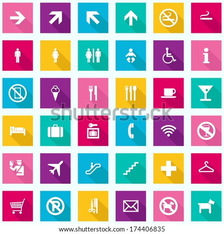 Colorful Travel Infographics - Tourism Signs Icons - vector EPS10  - stock vector