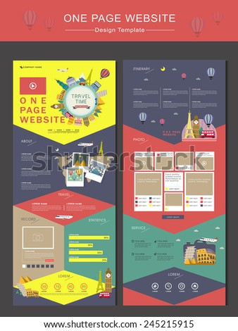 colorful travel time concept one page website design template in flat style - stock vector