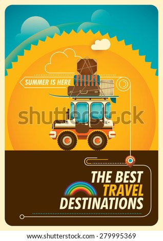 Colorful traveling poster with jeep. Vector illustration. - stock vector