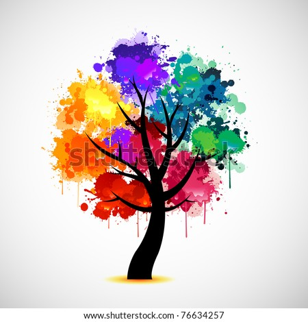 Colorful tree background - stock vector