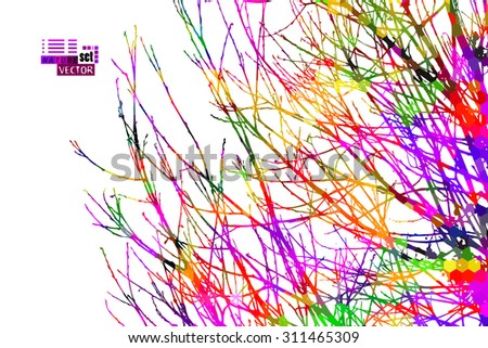 Colorful tree branch background. Vector - stock vector