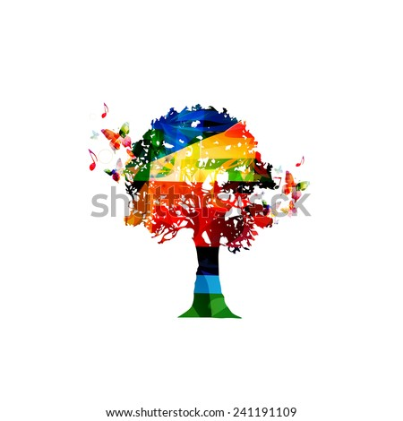 Colorful tree design with butterflies - stock vector