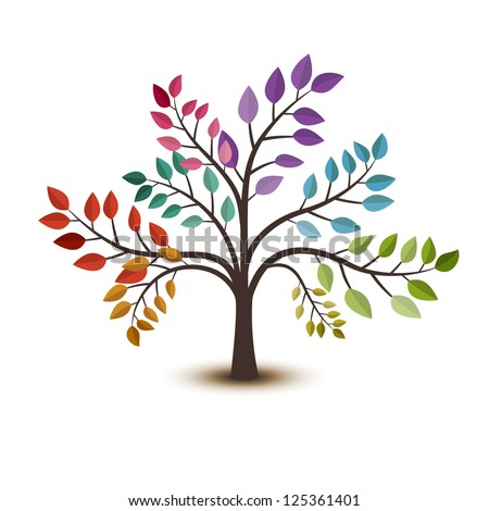 Colorful tree, vector illustration - stock vector