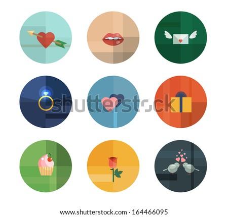 Colorful Trendy Vector Icon Set. Valentine's Day Concept - stock vector