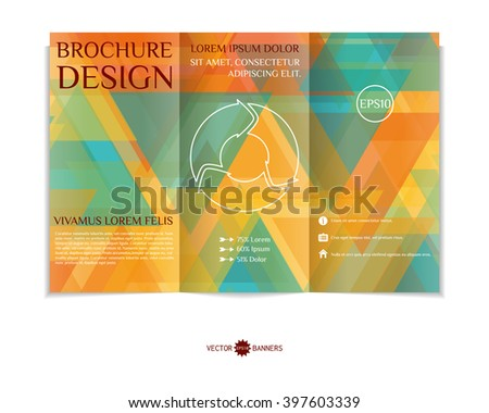 Colorful tri-fold brochure design template with modern triangular mosaic background. Abstract three fold flyer design. EPS10 vector.