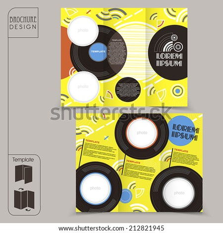 colorful tri-fold template for music concept brochure with vinyl element - stock vector
