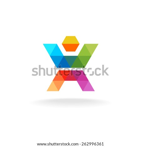 Colorful triangle faces human figure logo template - stock vector