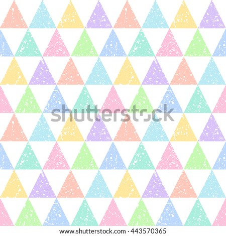 Colorful triangles with white splash or blobs texture seamless vector pattern. Geometric multicolor abstract background. Triangles with uneven spots, specks, blots texture. - stock vector