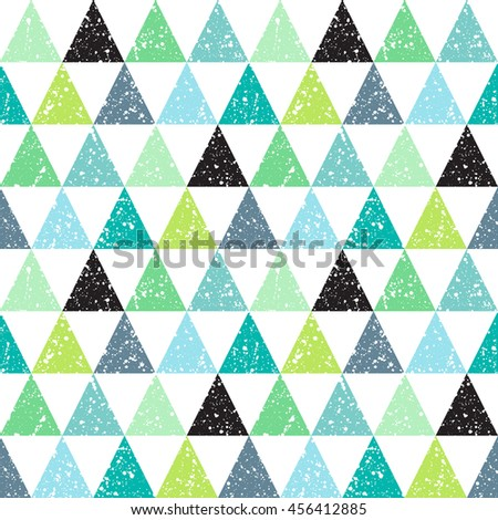Colorful triangles with white splash or blobs texture seamless vector pattern. Triangles with uneven spots, specks, blots texture. Geometric abstract background. Shades of green. - stock vector