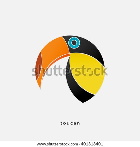 colorful, tropical bird icon isolated on white background. vector toucan logo design. wild, funny bird character. popular, stylized South America travel sign. cute, exotic birds symbol - stock vector