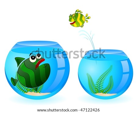 colorful tropical fish pursues after little fish - stock vector