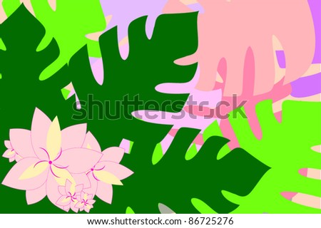 Colorful tropical leaves and flowers background