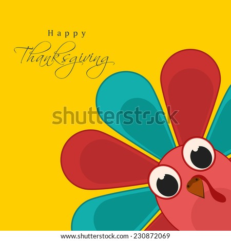 Colorful turkey bird on yellow background for Happy Thanksgiving Day celebrations.  - stock vector