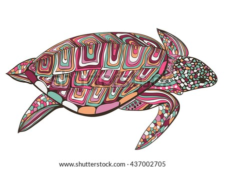 colorful turtle in zentangle zenart doodle style, isolated on white background. Hand drawn sketch for adult antistress coloring page, logo or tattoo with doodle, zen, line and dot design elements. - stock vector