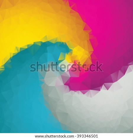 Colorful twirl design in triangle style - stock vector