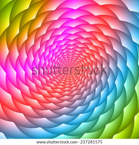 Colorful twisted and ribbed abstract flower background - stock vector