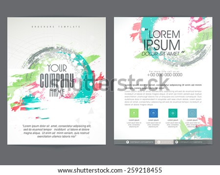 Colorful two pages business brochure, template or flyer design with place holders for corporate sector. - stock vector