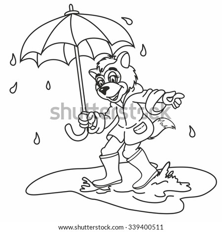 Colorful Umbrella And Yellow Boots Wolfs Rain Fairy Tale Character Coloring Picture For