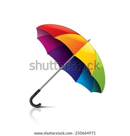 Colorful umbrella isolated on white photo-realistic vector illustration - stock vector