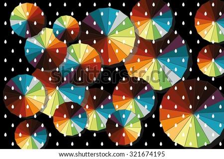 colorful umbrella with rain. Vector background - stock vector