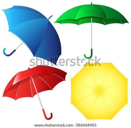 Colorful umbrellas vector set - stock vector