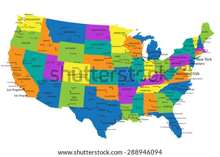 Colorful United States Of America Political Map With Clearly Labeled Separated Layers Vector Ilration