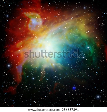 Colorful Universe filled with stars nebula and galaxy Vector illustration - stock vector