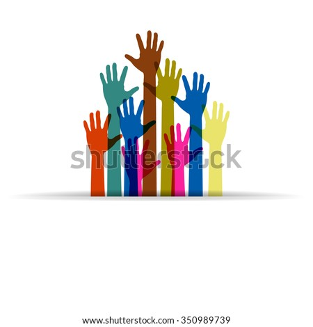 colorful up hands logo - stock vector