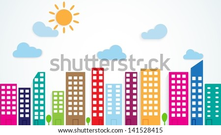 colorful urban scene - stock vector