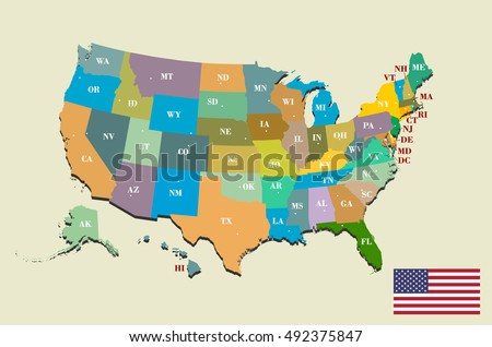Colorful Usa Map States Capital Cities Stock Vector - Us map states with cities
