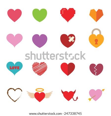 colorful valentine heart icons, vector symbols - stock vector