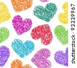 Colorful Valentine's Day sketchy hearts seamless pattern - stock vector