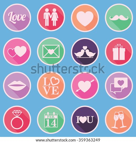 Colorful Valentines Day Icons Set - flat design - vector eps10 - stock vector