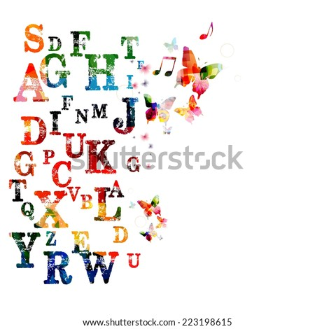 Colorful vector alphabet background - stock vector