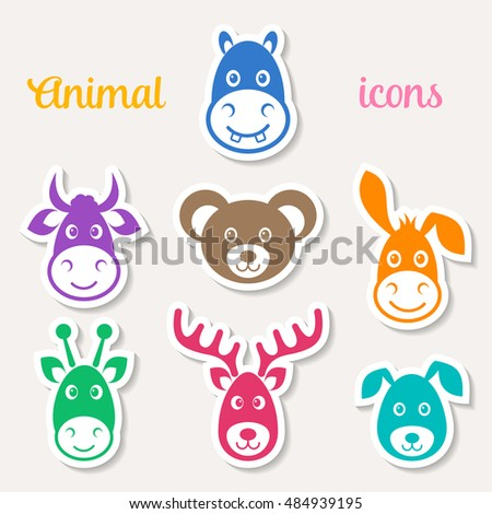 Colorful vector animal face icons on white labels
